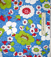 Timeless Treasures Junebug Floral Red Blue Apple Green C7295 Cotton Fabric Yard