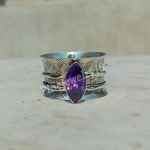 Amethyst-Ring-925-Sterling-Silver-Spinner-Ring-Meditation-Statement-Jewelry-A51