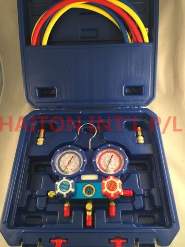 "2 VALVE AL manifold with 60"" 800psi hoses & 80mm gauges For R410A Case"