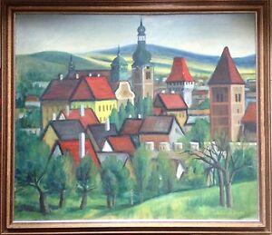 OLGEMALDE-NEUE-SACHLICHKEIT-ALTSTADT-MIT-KIRCHEN-ABER-WO-SIGNIERT-UM-1930