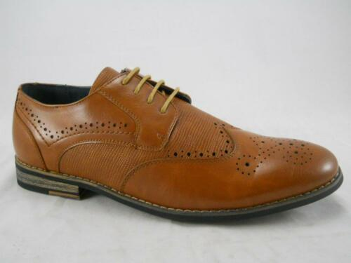 Mens Tan New Lace Up Brogues Formal Wedding Leather Lined Shoes UK Sizes 9.5-12