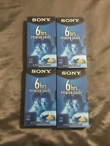 (4) Sony T-120 Premium Grade 6hrs Blank VHS VCR Video Cassette Tapes NEW