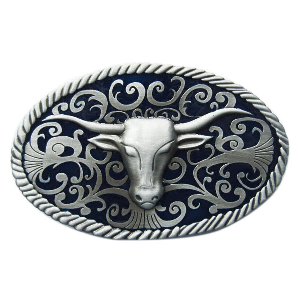 Longhorn III Metal Belt Buckle Cowboy Westen Saloon Square Dance Bull Steer