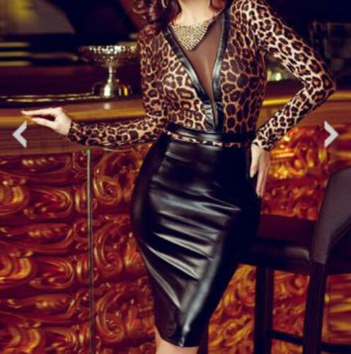Leopard Print Dress See Through Back Low See Through Front Latex Look