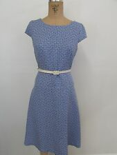 ANNE KLEIN Blue/White Textured Cap Sleeve Belted Career Dress-Size 6