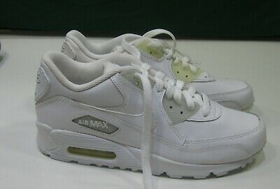 Nike Air Max 90 307793-111 leather White youth Size 5.5 women size 7 | eBay