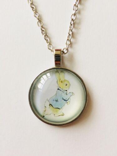 Peter Rabbit Pendant Necklace Beatrix Potter Vintage Style Silver Coloured