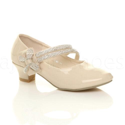 Filles Enfants Basse Talon bottier et sangle Bow Demoiselle d/'honneur partie formelle Chaussures Taille