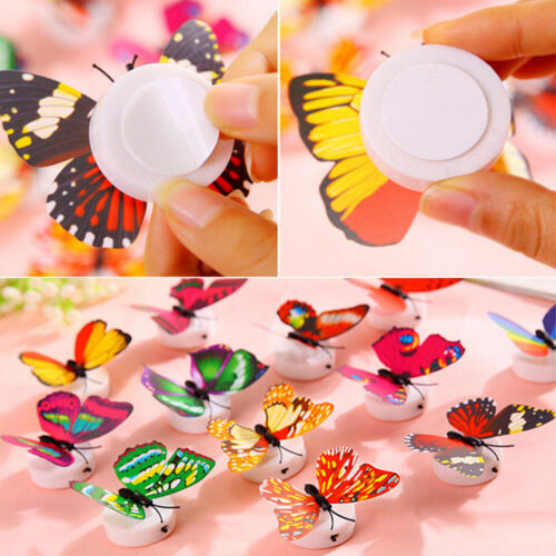 3D Glowing Butterfly Night LED Light Sticker Decals Home Bedroom Desk Wall Decor