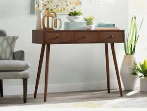 Details about Mid Century Console Sofa Table Modern Retro 3 Storage Drawer  Entry Wood Walnut