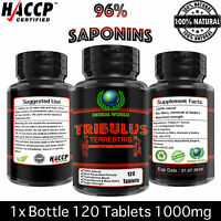 Tribulus Terrestris Extract 1000mg Testosterone Booster 96% Saponins 120 Tablets