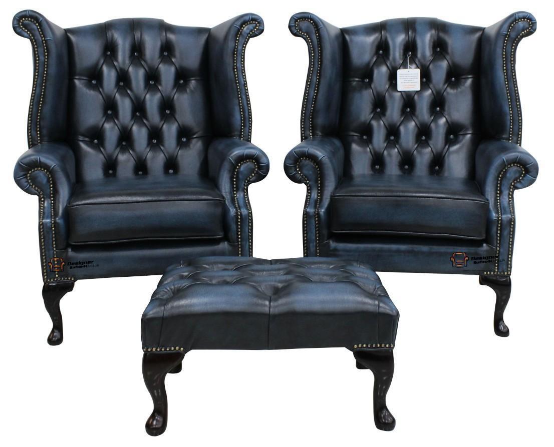 Strange Details About 2 X Chesterfield Queen Anne Wing High Back Fireside Chairs Antique Blue Leather Inzonedesignstudio Interior Chair Design Inzonedesignstudiocom