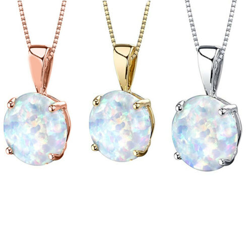 Details about  /Jewelers Opal Drop Necklace With Accent And Chain