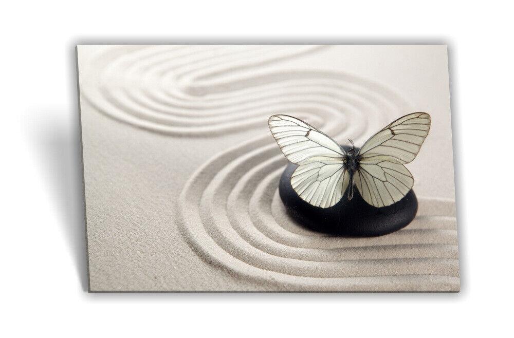 Leinwand-Bild Keilrahmen-Bild SPA-Wellness Sand Stein Strand Schmetterling