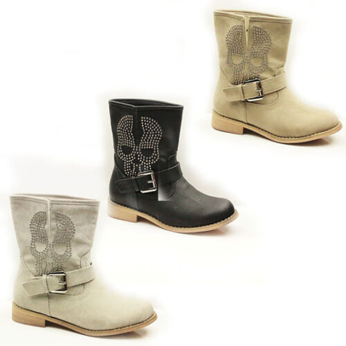 WOMENS COWBOY STYLE LOW HEEL STUDDED ANKLE BOOTS BOOTIES LADIES SHOES SIZE 3-8