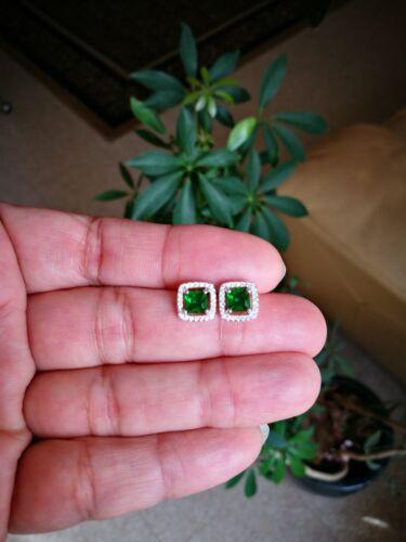 2 Ct Princess Cut Earrings Emerald Earrings Diamond Stud Earrings 14K White Gold