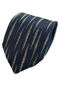 Fendi-Roma-Blue-Gold-Color-Silk-Necktie-Tie-Made-In-Italy-Skinny-56-034-x3-034