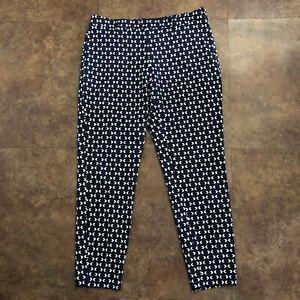 H-amp-M-Pants-Size-12-Stretch-Blue-Geometric-Side-Zip-Skinny-Belt-Loops