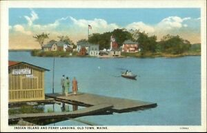 Old-Town-ME-Indian-Island-amp-Ferry-Landing-c1920-Postcard