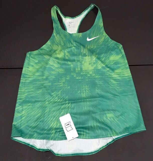 46ce21424436 NIKE MENS LARGE DIGITAL RACE DAY ELITE RUNNING SINGLET GREEN 835880 NICE H5