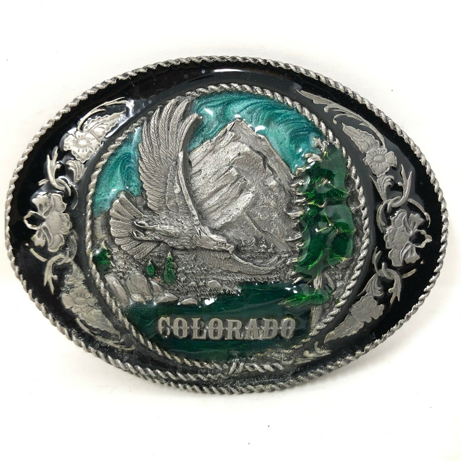 VTG Siskiyou Colorado Rocky Mountains Bald Eagle Soaring Belt Buckle USA Made CO