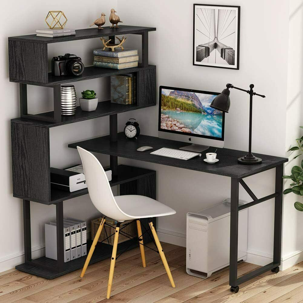 Tribesigns Rotating Computer Desk with 32 Tier Bookshelf, L-Shaped Corner  Desk