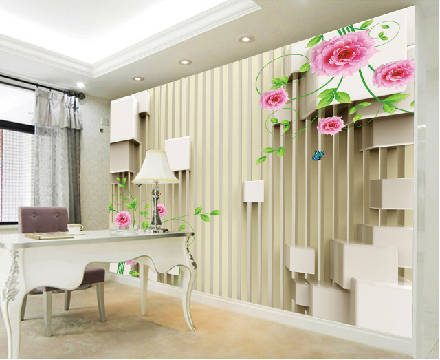 3D Flowers Decorated Lattice Paper Wall Print Wall Decal Wall Deco Indoor Murals