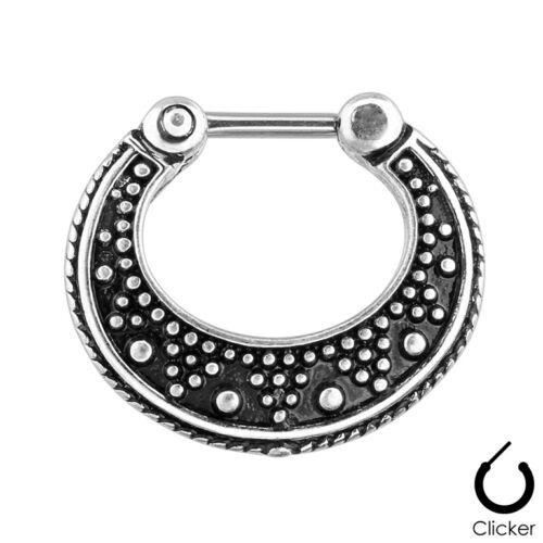 Piercing tabique anillo plegable clicker acero inoxidable aztecas Design escudo piercing