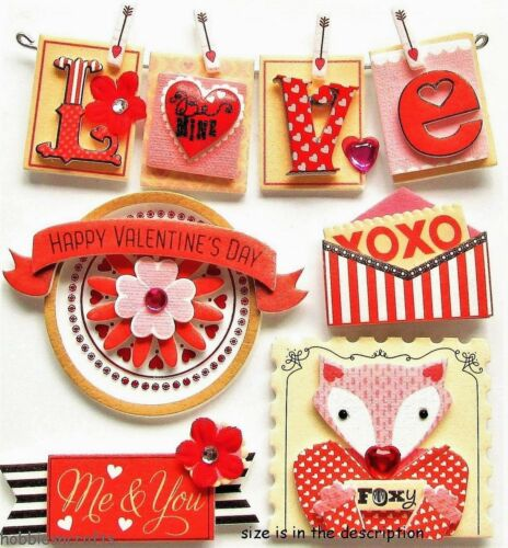 Jolee/'s Boutique palabras de San Valentín 3-D Pegatinas De Piedras Preciosas Amor Romance