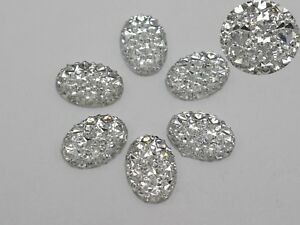 100-Clear-Glitter-Flatback-Resin-Oval-Cabochon-Pyramid-Dotted-Rhinestone-10X14mm