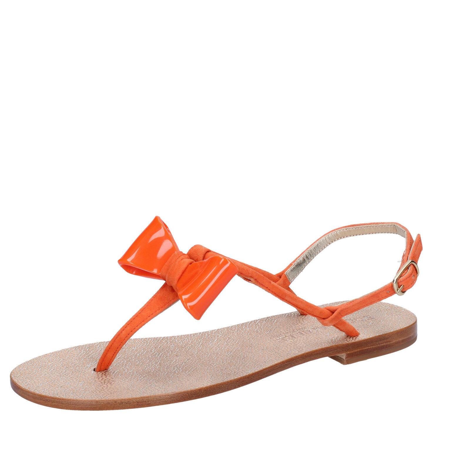 Damen schuhe EDDY DANIELE 37 EU sandalen orange wildleder AW215-37