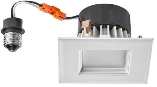 "10W LED Recessed Light Retrofit Module with 4/"" White Square Baffle Trim"