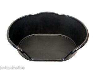 LARGE PLASTIC BLACK DOG / CAT / PET BED, BASKET - HEAVY DUTY, MADE IN UK