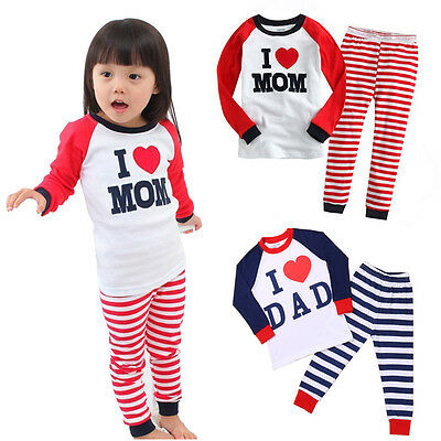 Long Sleeve Kids Boys Girls Pajamas Pyjama Suits Sets Sleepwear Set Gift 1-7