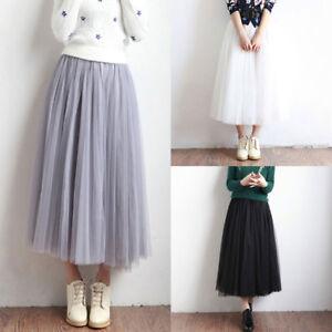 Fashion-Tulle-Tutu-Skirt-Women-Winter-Pleated-Midi-Skirt-High-Waist-Underskirt