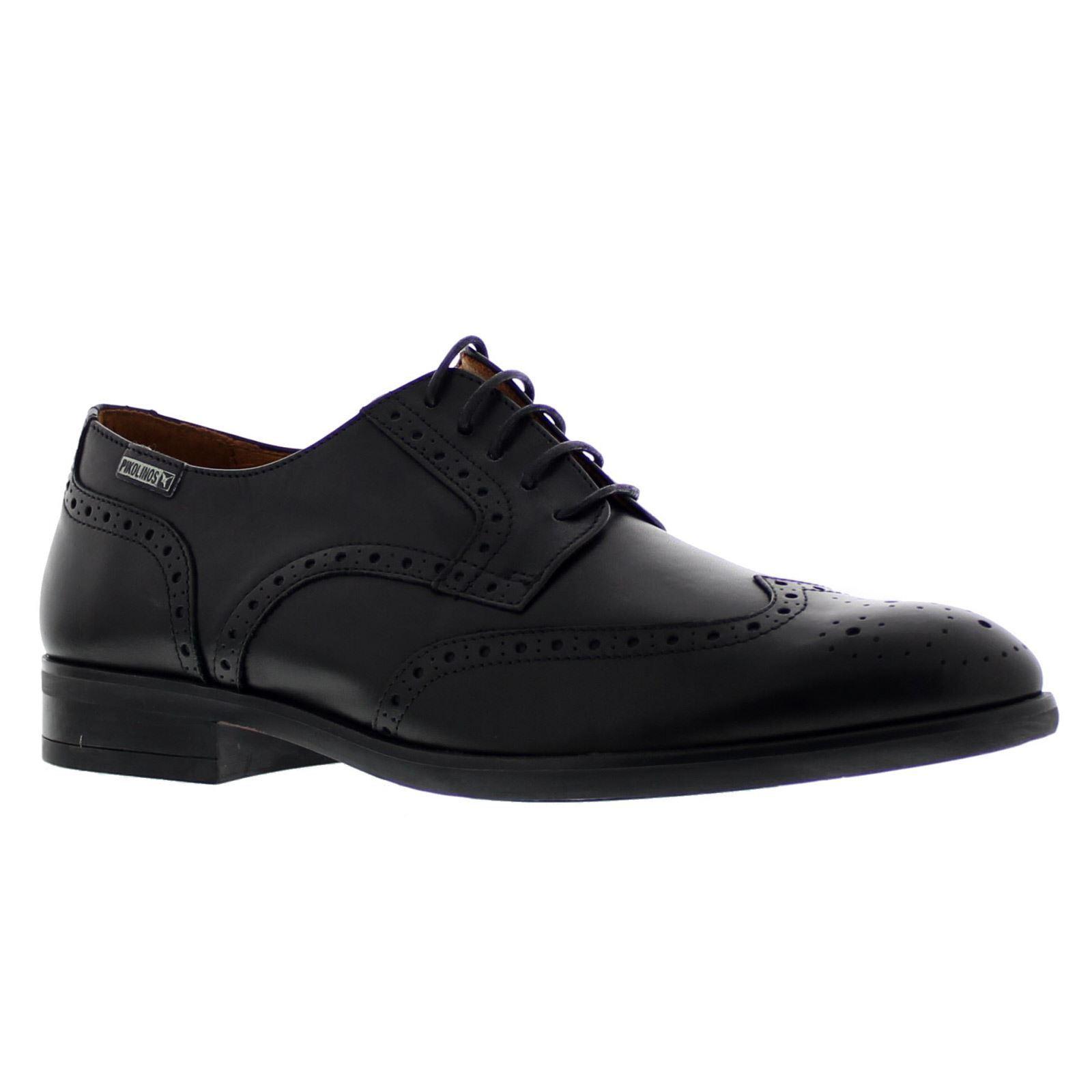 Pikolinos Bristol M7J-4186 Black Mens Leather Brogue Laced Formal Shoes