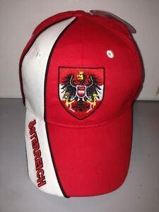 CAPPELLO-AUSTRIA-ROSSO-VISIERA-CAPPELLINO-HAT-OSTERREICH