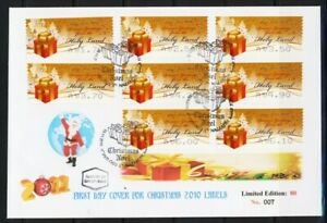 ISRAEL-STAMPS-2010-CHRISTMAS-NOEL-8-LABELS-SILVER-ON-FDC