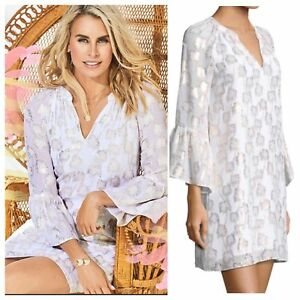 fa713a7fc52 New Lilly Pulitzer MATILDA SILK TUNIC DRESS White Metallic PALM TREE ...