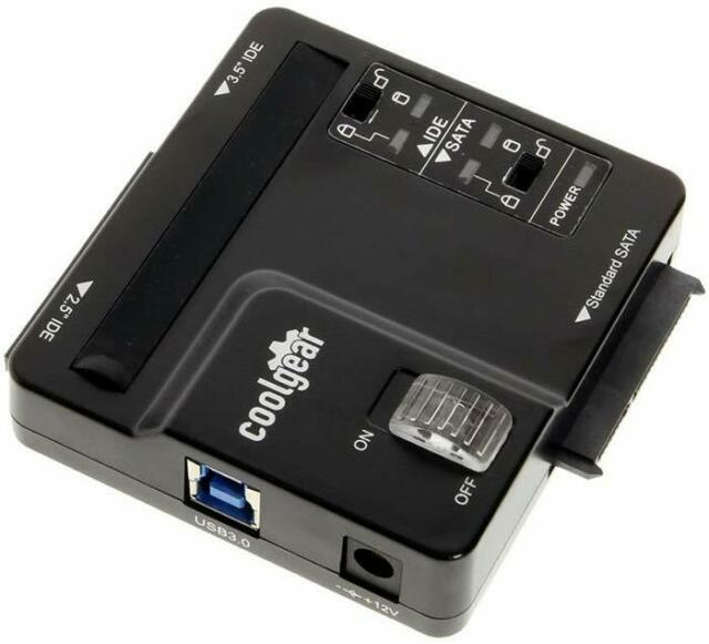 "USB3.0 to 2.5/"" 3.5/"" SATA//IDE Converter Hard Drive Adapter With Power Supply O5F0"