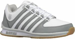 K. Swiss Rinzler White Grey Gum Mens Leather Trainers