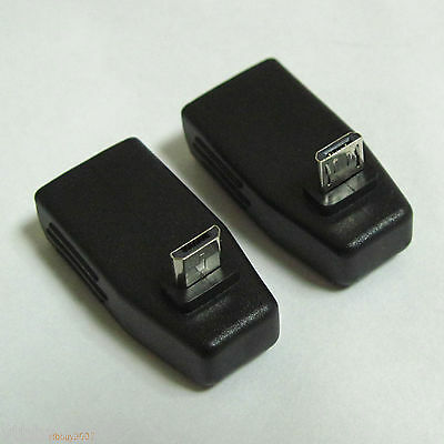 2pcs UP + Down angle 90 degree Micro B male to USB A Female connector adapter