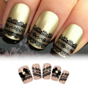 3D Black Lace Design Nail Art Stickers Flowers Manicure Decals Tips ...