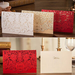 Das Bild Wird Geladen Rot Personalisierte Druck Einladungskarten Hochzeit  Laser Cut Gratis