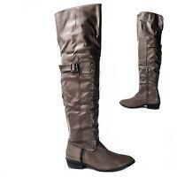 Damen Overknee Stiefel Boots Stiefeletten Overkneestiefel Khaki B5 Gr. 37 Neu