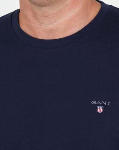short sleeve cotton tee Gant Solid Crew Neck T Shirt in Navy Blue