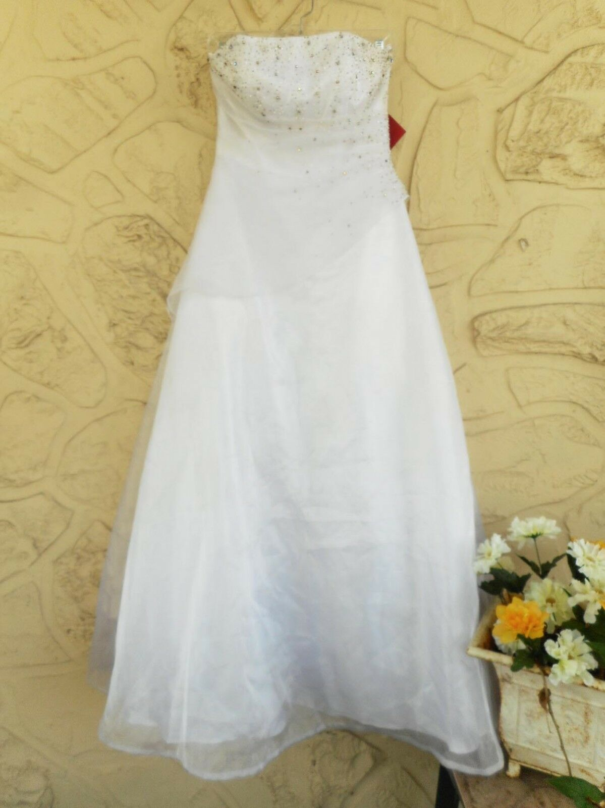 Strapless Sequined Modern Style Vintage Wedding Dress Ruched Side New