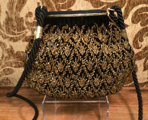 True Vintage Late 1970s GUCCI Gold Beaded Black Ve