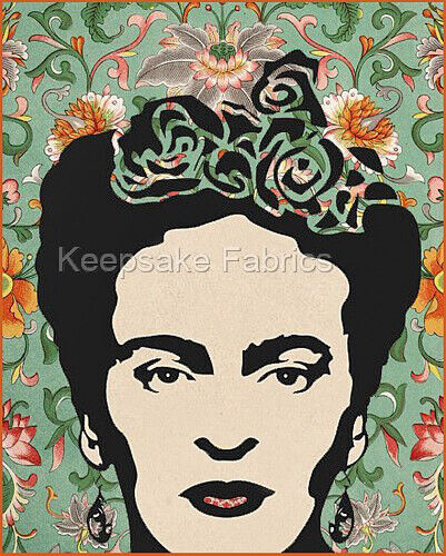 Frida Kahlo Flowers Collage Art Fabric Quilt Block Free Shipping World Wide K8