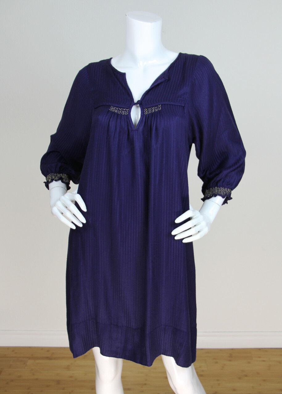 IRO Sz 38 Purple Cotton Blend Peasant 3 4 Sleeve Flowy Tunic Dress